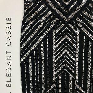 L Elegant Cassie LuLaRoe Black and Silver NWT